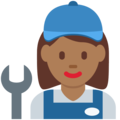 Woman Mechanic: Medium-Dark Skin Tone on Twitter Twemoji 11.0