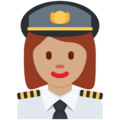 Woman Pilot: Medium Skin Tone on Twitter Twemoji 11.0