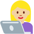 Woman Technologist: Medium-Light Skin Tone on Twitter Twemoji 11.0