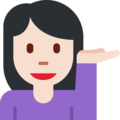 Person Tipping Hand: Light Skin Tone on Twitter Twemoji 11.0