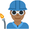 Man Factory Worker: Medium-Dark Skin Tone on Twitter Twemoji 11.0