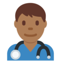 Man Health Worker: Medium-Dark Skin Tone on Twitter Twemoji 11.0