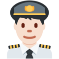 Man Pilot: Light Skin Tone on Twitter Twemoji 11.0