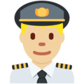 Man Pilot: Medium-Light Skin Tone on Twitter Twemoji 11.0
