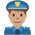 Man Police Officer: Medium Skin Tone on Twitter Twemoji 11.0