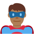 Man Superhero: Medium-Dark Skin Tone on Twitter Twemoji 11.0