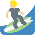 Man Surfing: Medium-Light Skin Tone on Twitter Twemoji 11.0