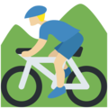 Person Mountain Biking: Medium-Light Skin Tone on Twitter Twemoji 11.0