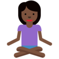 Person in Lotus Position: Dark Skin Tone on Twitter Twemoji 11.0