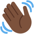 Waving Hand: Dark Skin Tone on Twitter Twemoji 11.0