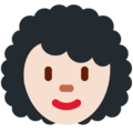 Woman, Curly Haired: Light Skin Tone on Twitter Twemoji 11.0