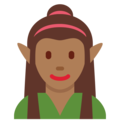 Woman Elf: Medium-Dark Skin Tone on Twitter Twemoji 11.0