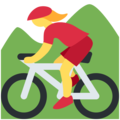 Woman Mountain Biking on Twitter Twemoji 11.0