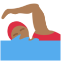 Woman Swimming: Medium-Dark Skin Tone on Twitter Twemoji 11.0