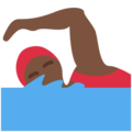 Woman Swimming: Dark Skin Tone on Twitter Twemoji 11.0