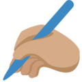 Writing Hand: Medium Skin Tone on Twitter Twemoji 11.0