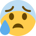 Anxious Face With Sweat on Twitter Twemoji 11.1