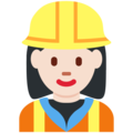 Woman Construction Worker: Light Skin Tone on Twitter Twemoji 11.1