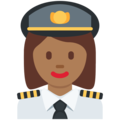 Woman Pilot: Medium-Dark Skin Tone on Twitter Twemoji 11.1