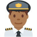 Man Pilot: Medium-Dark Skin Tone on Twitter Twemoji 11.1