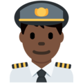 Man Pilot: Dark Skin Tone on Twitter Twemoji 11.1
