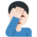 Man Facepalming: Light Skin Tone on Twitter Twemoji 11.1