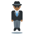 Man in Suit Levitating: Medium-Dark Skin Tone on Twitter Twemoji 11.1