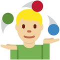 Man Juggling: Medium-Light Skin Tone on Twitter Twemoji 11.1
