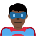 Man Superhero: Dark Skin Tone on Twitter Twemoji 11.1