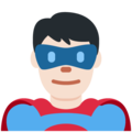 Man Superhero: Light Skin Tone on Twitter Twemoji 11.1