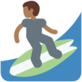 Man Surfing: Medium-Dark Skin Tone on Twitter Twemoji 11.1