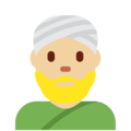 Man Wearing Turban: Medium-Light Skin Tone on Twitter Twemoji 11.1