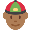 Man With Chinese Cap: Medium-Dark Skin Tone on Twitter Twemoji 11.1