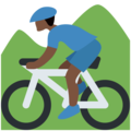 Person Mountain Biking: Dark Skin Tone on Twitter Twemoji 11.1