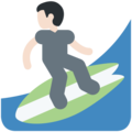 Person Surfing: Light Skin Tone on Twitter Twemoji 11.1