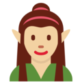 Woman Elf: Medium-Light Skin Tone on Twitter Twemoji 11.1