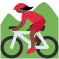 Woman Mountain Biking: Dark Skin Tone on Twitter Twemoji 11.1