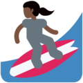 Woman Surfing: Dark Skin Tone on Twitter Twemoji 11.1