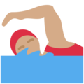 Woman Swimming: Medium Skin Tone on Twitter Twemoji 11.1
