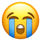 Loudly Crying Face on Apple iOS 11.3