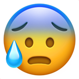 Face With Open Mouth & Cold Sweat on Apple iOS 10.0