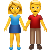 Man and Woman Holding Hands on Apple iOS 10.0