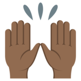 Raising Hands: Medium-Dark Skin Tone on EmojiOne 3.1