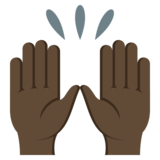Raising Hands: Dark Skin Tone on EmojiOne 3.1