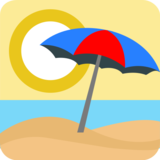 Beach With Umbrella on EmojiOne 1.0