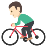 Person Biking: Light Skin Tone on EmojiOne 2.2.4