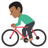 Person Biking: Medium-Dark Skin Tone on EmojiOne 2.2.4