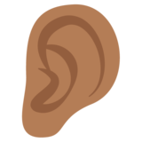 Ear: Medium-Dark Skin Tone on EmojiOne 2.2.4