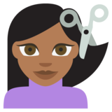 Person Getting Haircut: Medium-Dark Skin Tone on EmojiOne 2.2.4