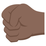 Left-Facing Fist: Dark Skin Tone on EmojiOne 2.2.4
